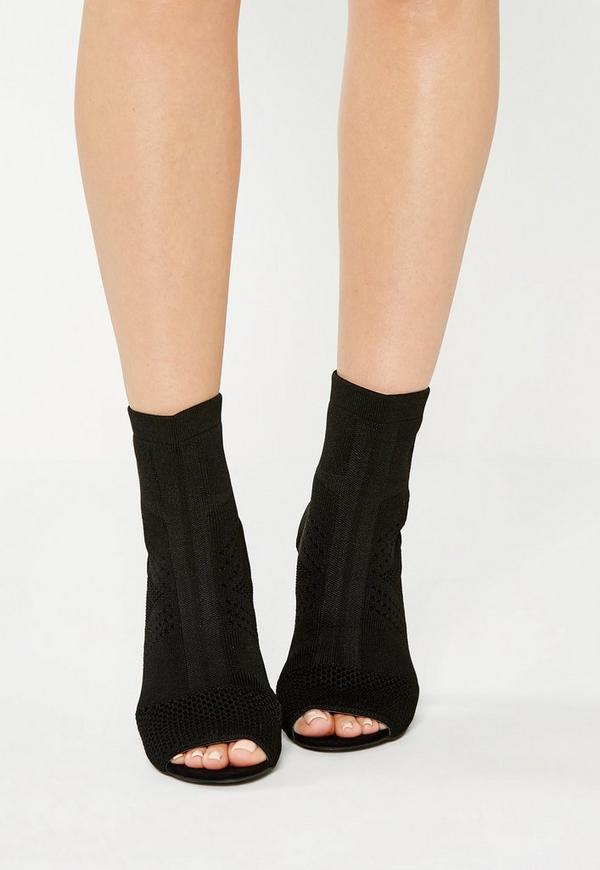 Black Knitted Peep Toe Ankle Boots | Missguided