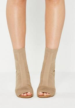 Bottines peep-toe nude en mailles