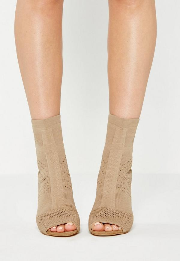 Nude Knitted Peep Toe Ankle Boots | Missguided