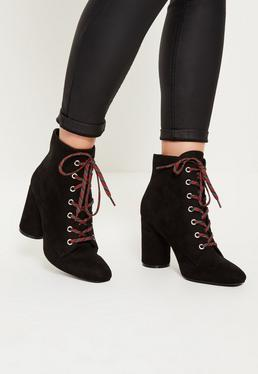 Black Lace Detail Block Heeled Ankle Boots