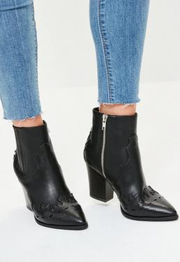 Black Snake Toe Western Ankle Boots
