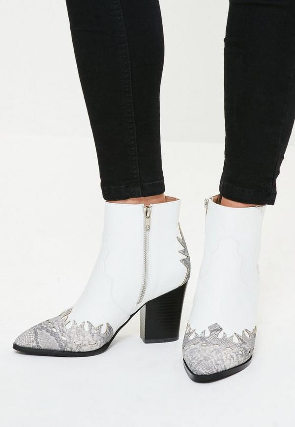 White Snake Toe Western Ankle Boots
