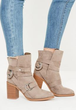 Nude Strap Heeled Ankle Boots