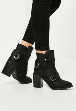 Black Vamp Strap Heeled Ankle Boots