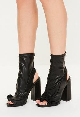 Black Ruffle Trim Peep Toe Heeled Boots