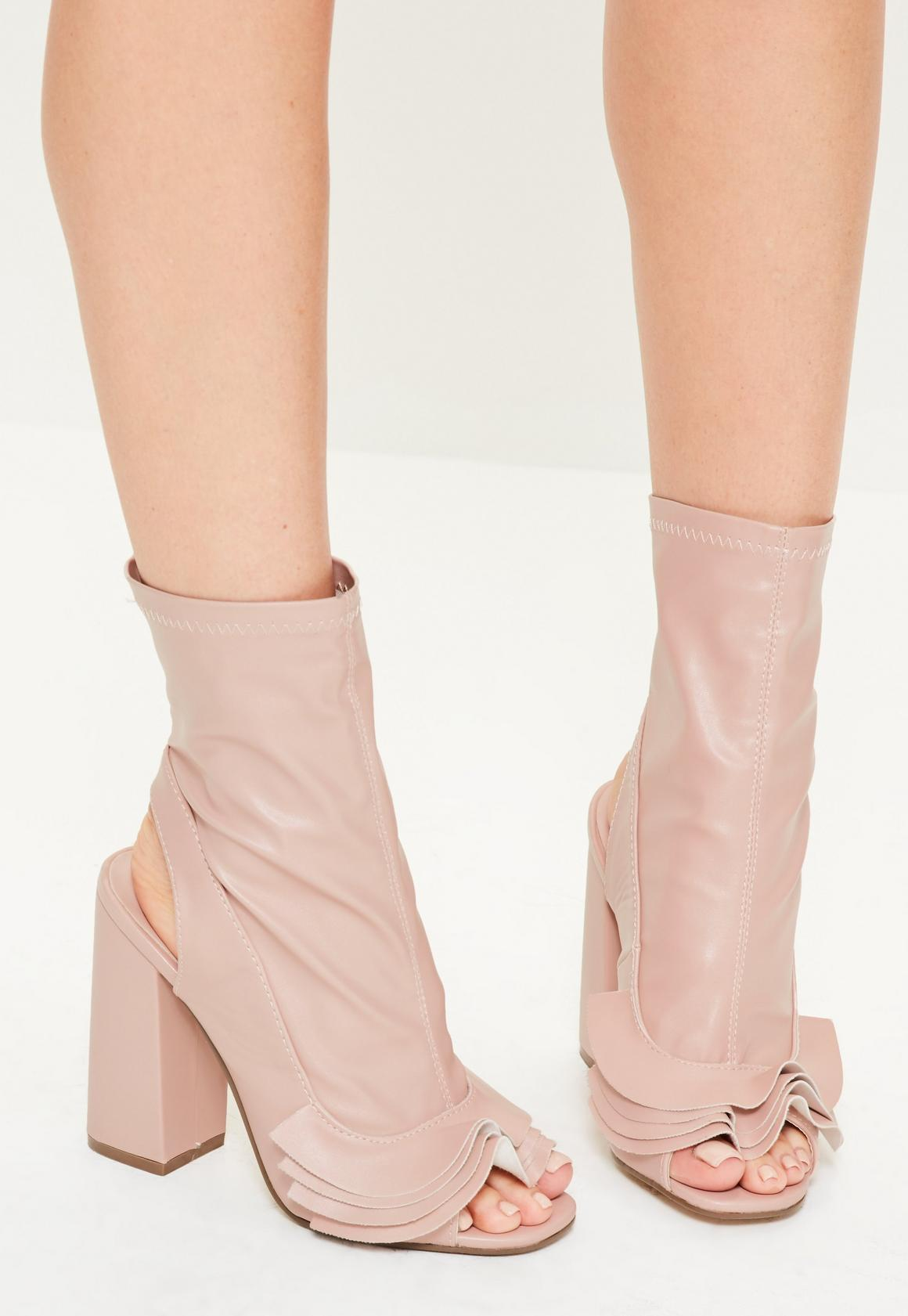 Pink Ruffle Trim Peep Toe Heeled Boots | Missguided