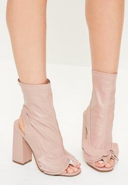 Pink Ruffle Trim Peep Toe Heeled Boots