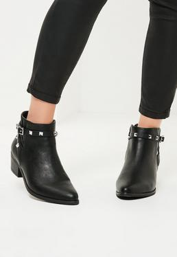 Black Studded Strappy Ankle Boots