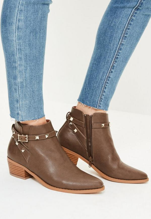 Brown Studded Strappy Western Boots