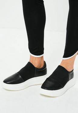 Czarne buty sportowe na platformie ze streczem