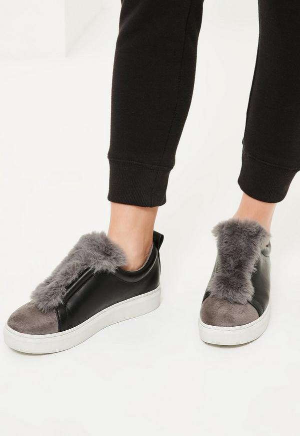 Grey Faux Fur Trim Trainers