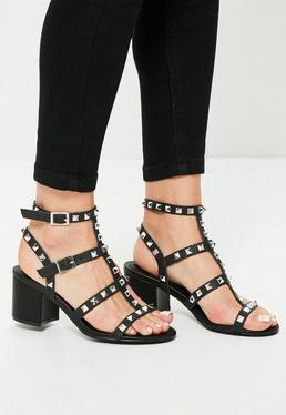 Schwarze Absatz Sandalen mit Nieten-Besatz