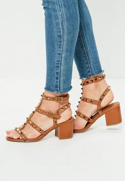 Brown Studded T Bar Block Heeled Sandals