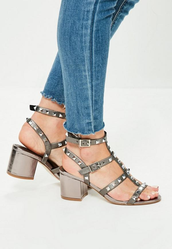 Silver Studded T Bar Block Heeled Sandals | Missguided