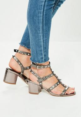 Silver Studded T Bar Block Heeled Sandals