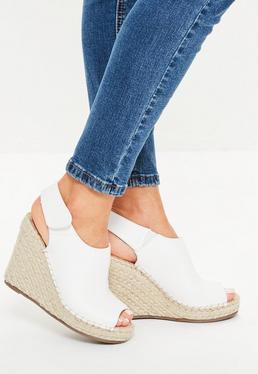 White Peep Toe Wedge Espadrille Sandals