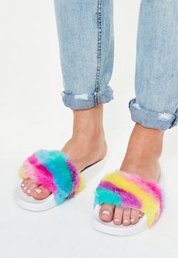White Rainbow Faux Fur Sliders
