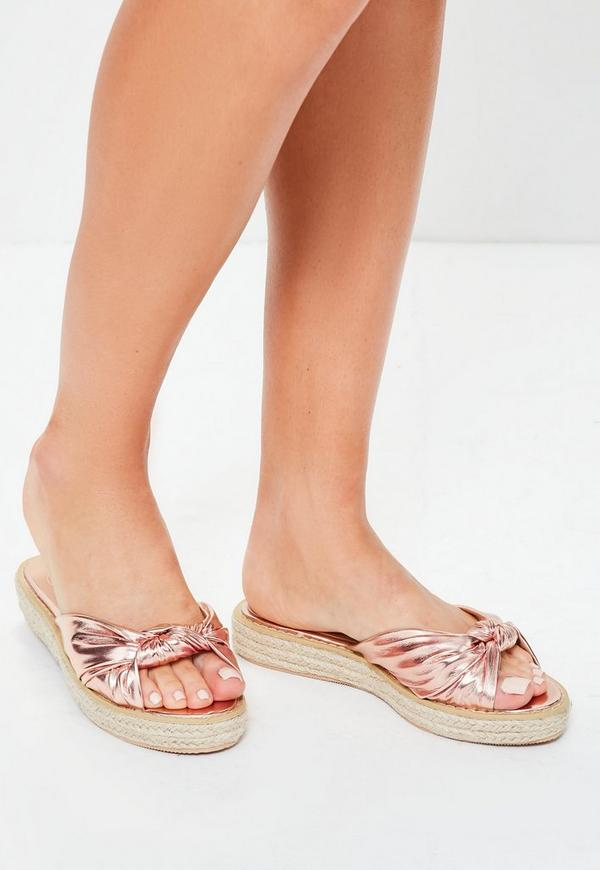 Rose Gold Knot Front Sliders