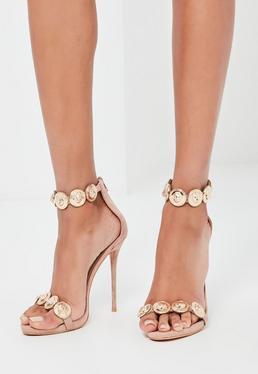 Beżowe szpilki sandały ze złotymi zdobieniami Peace + Love