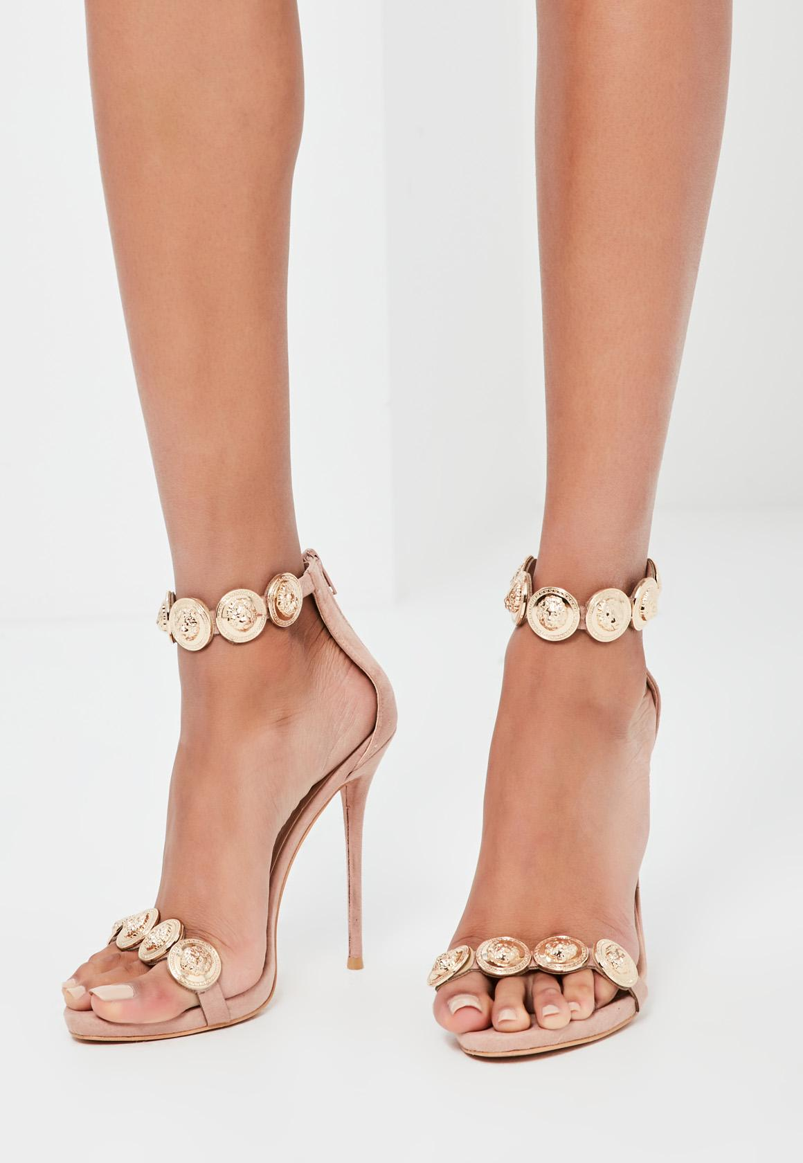 Peace   Love Nude Embellished Strap Heeled Sandals | Missguided