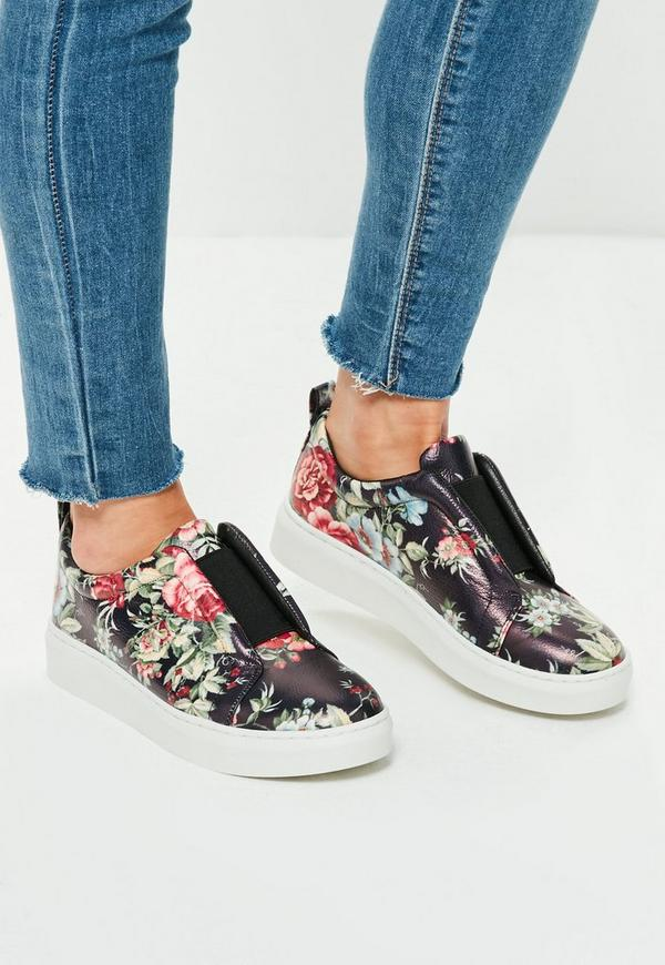 Black Floral Print Slip On Trainer