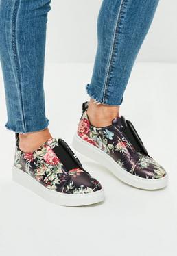 Purple Floral Print Elastic Sneakers