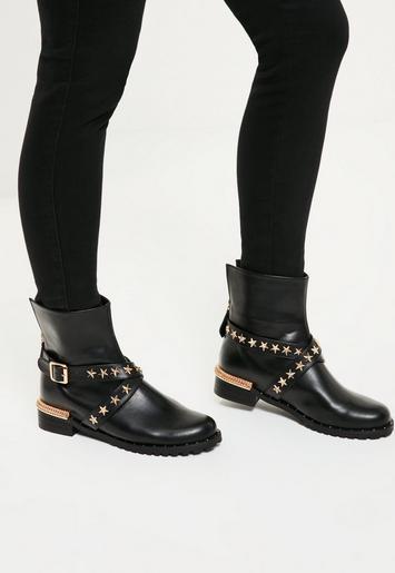 Black Star Detail Biker Boots Missguided