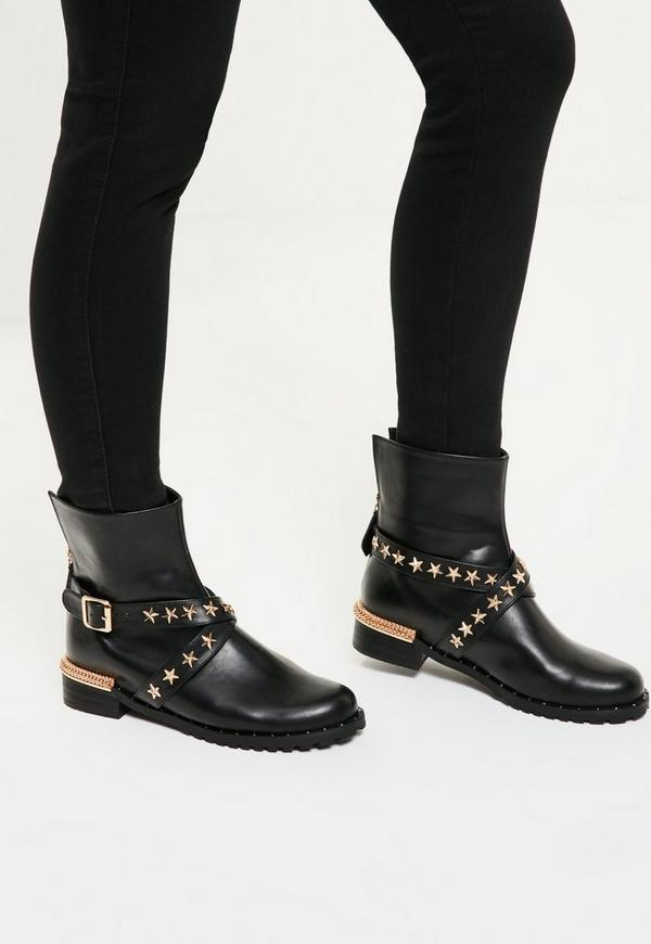 Black Star Detail Biker Boots