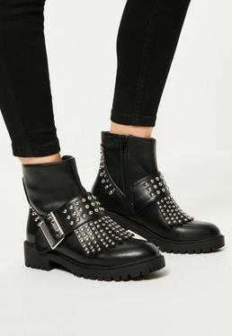 Black Studded Fringe & Buckle Biker Boots