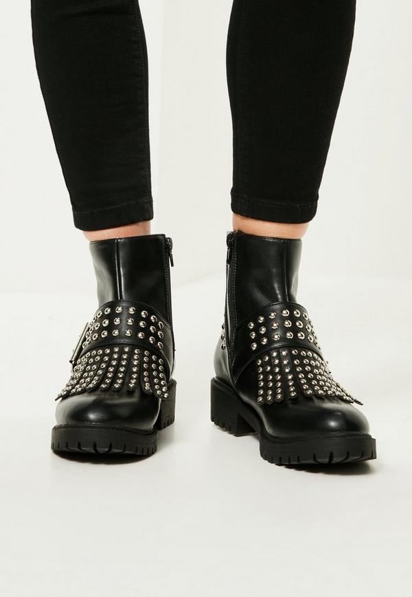 black studded fringe buckle biker boots missguided