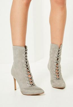 Grey Pointed Lace Up Heeled Ankle Boots