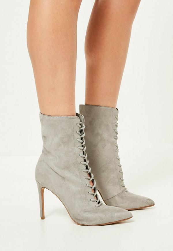 grey pointed lace up heeled ankle boots missguided