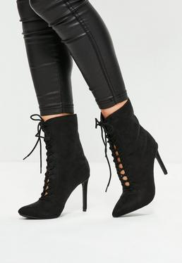 Black Pointed Lace Up Ankle Boots