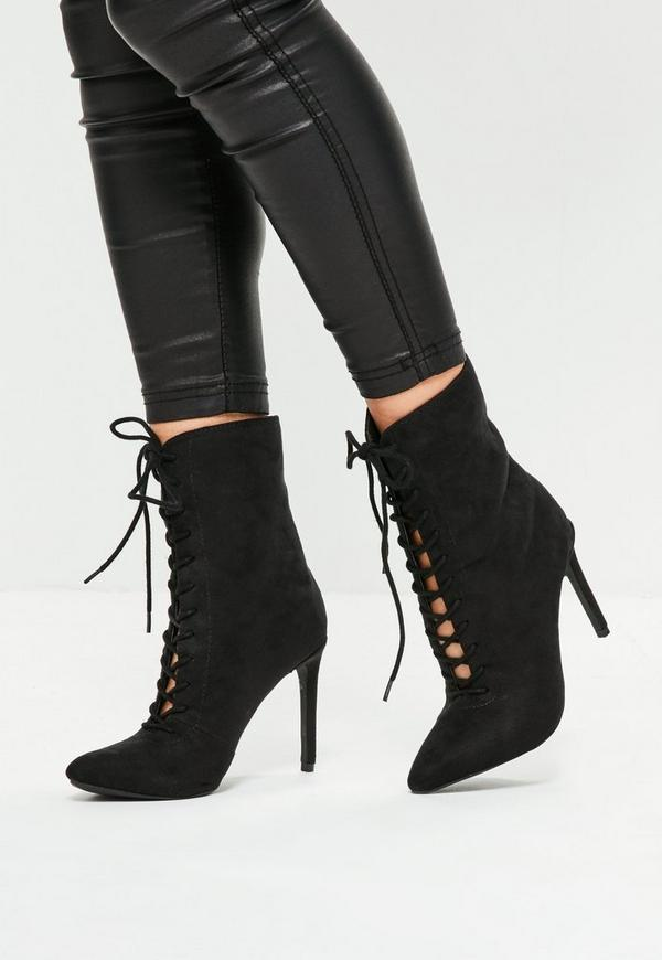 Black Pointed Lace Up Ankle Boots | Missguided