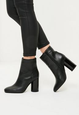Black Faux Leather Circle Block Heeled Boots