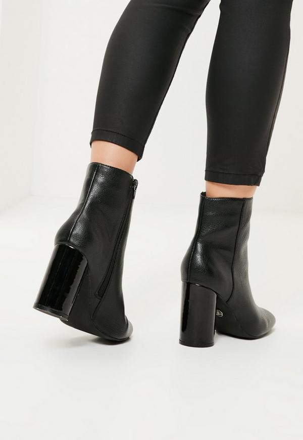 black faux leather circle block heeled boots missguided