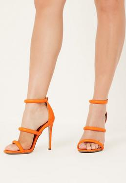 Orange Rounded 3 Strap Barely There Heels