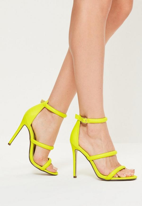 Yellow Faux Leather Three Strap Barely There Heels
