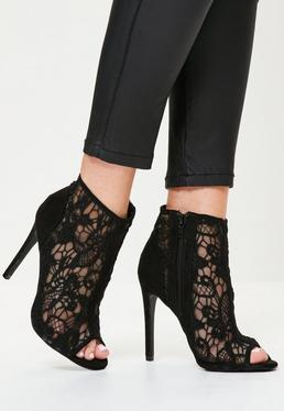 Black lace Peep Toe Heeled Ankle Boots