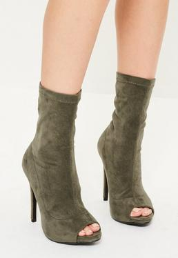 Khaki Peep Toe Faux Suede Heeled Ankle Boots
