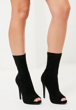 Plateau-Stiefel mit Absatz aus Kunst-Wildleder mit Peep-Toe in Schwarz