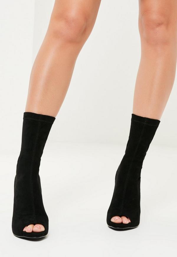Black Faux Suede Peep Toe Platform Boots Missguided