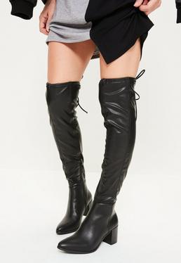 Czarne skórzane buty za kolano na obcasie