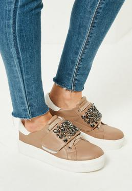 Nude Embellished Panel Platform Trainers