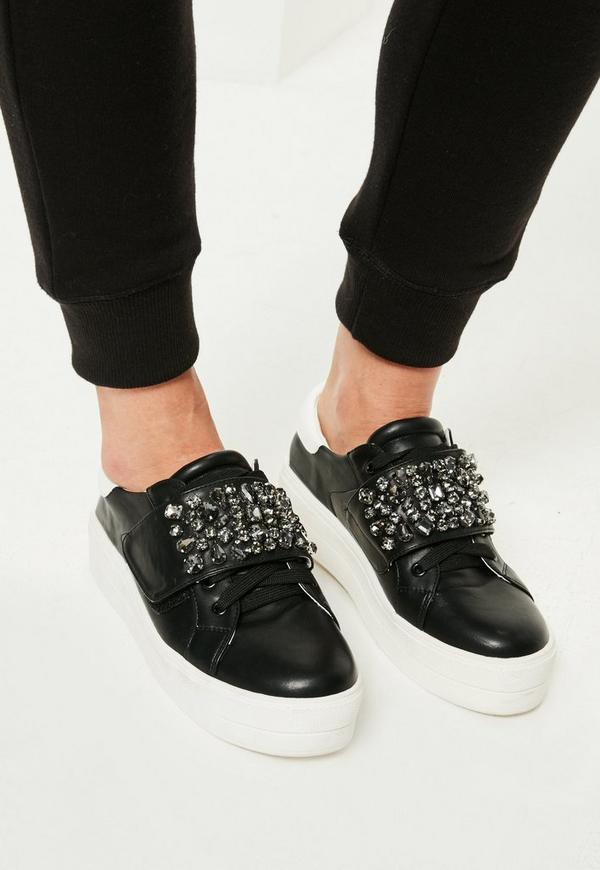 Black Embellished Panel Platform Trainers
