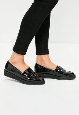 Black Tassel And Fringe Platform Shoes