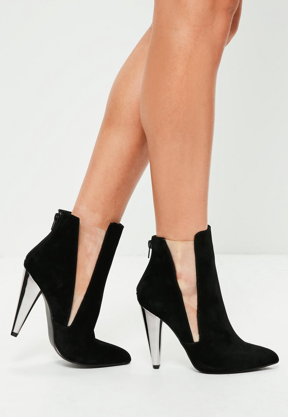 Black Metal Cone Heel Ankle Boots - Missguided