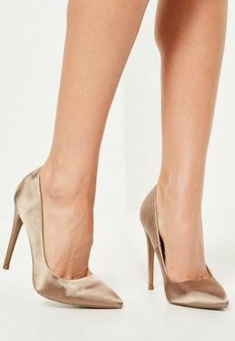 Nude Satin Pointed Toe Pumps