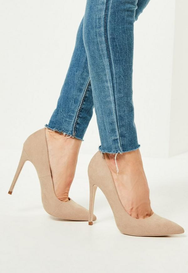 Nude Faux Suede Pointed Toe Court Shoes