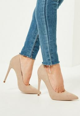 Nude Faux Suede Pointed Toe Pumps
